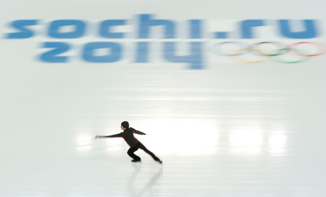 Philippines' Martinez skates during the figure skating training session at the Iceberg Skating Palace at the Sochi 2014 Winter Olympics