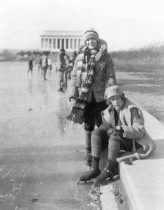 Enjoying the Reflecting Pool in Winter (Library of Congress)