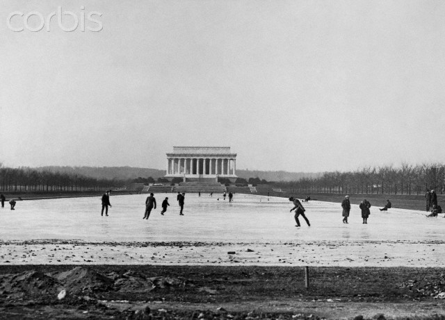 Ice skating on the newly built Reflecting Pool, 1922 (Library of Congress)