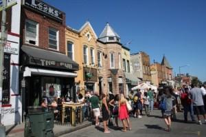 H Street in warmer months