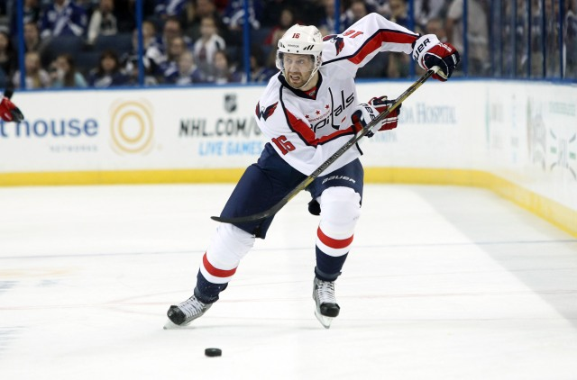 February 14, 2013; Tampa FL, USA; Washington Capitals right wing Eric Fehr (16) skates with the puck against the Tampa Bay Lightning during the first period at Tampa Times Forum. Mandatory Credit: Kim Klement-USA TODAY Sports
