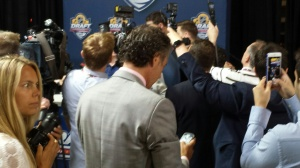 Typical press scrum at the Draft (Photo: Eric Pinder)